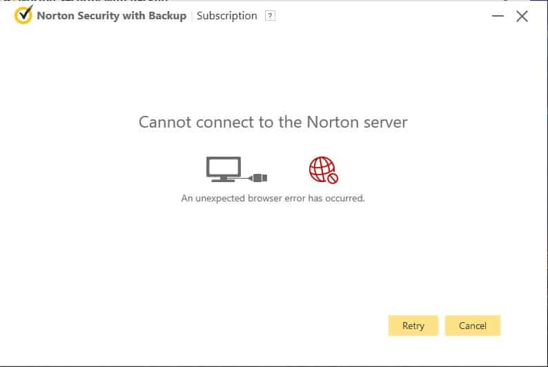 "HOW TO RECTIFY ""YOU CANNOT CONNECT TO NORTON SERVER"" ERROR"