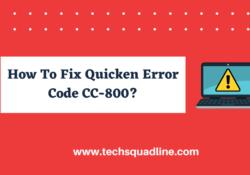 How To Fix Quicken Error CC-800